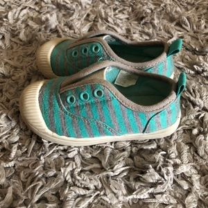 Baby/toddler size 6 striped slip on sneakers
